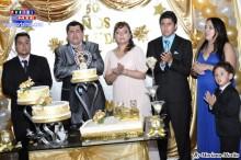 María acompañada de su esposo Elvis, sus hijos Elvis Seitoku, Soledad y Elvis Jair.
