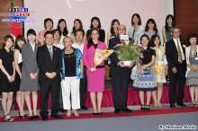 Autoridades peruanas y japoneses celebrando el Aniversario de Perú.