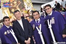 Señor de los Milagros Padre Ángel, Mayordomo Jhonny Marquina, Capataz Carlos y Sub Capataz Jorge.