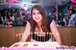 Fabiana radiante de felicidad en su fiesta