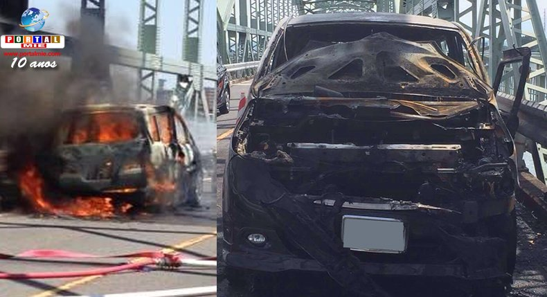&nbspCarro de familia brasileña se incendia en autopista de Mie