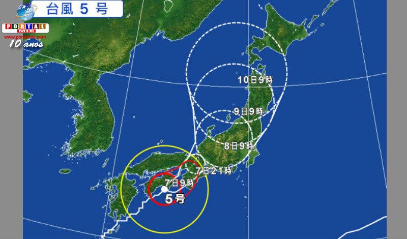 &nbspTifón n.º 5 avanza trayendo lluvias de 500mm para Tokai y Kinki