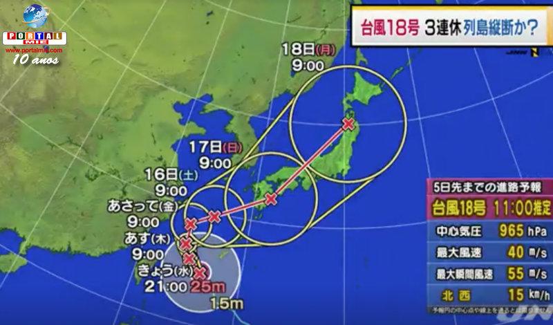&nbspFuerte tifón 18 podrá cubrir todo Japón en el feriado