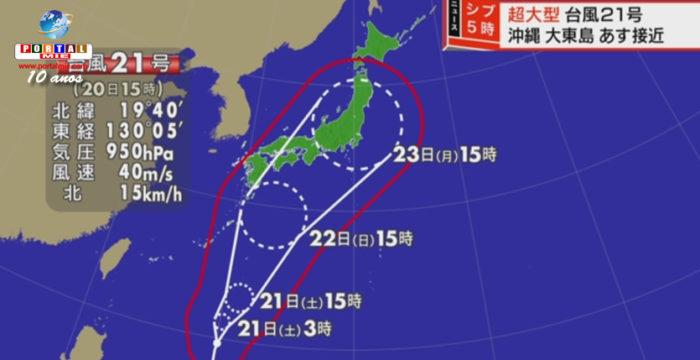 """Tifón Nº21 evoluciona para """"súper gigante"""" y alcanzará Japón mañana"""