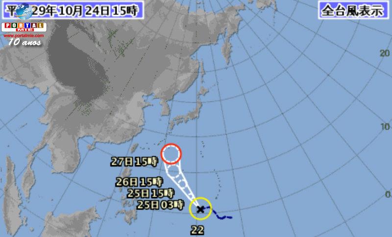 &nbspTifón de número 22 podrá alcanzar Japón