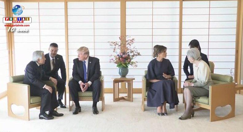 &nbspTrump se encuentra con la pareja imperial japonés