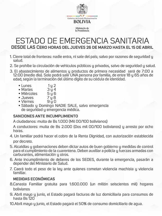 &nbspEstado de Emergencia sanitaria en Bolivia