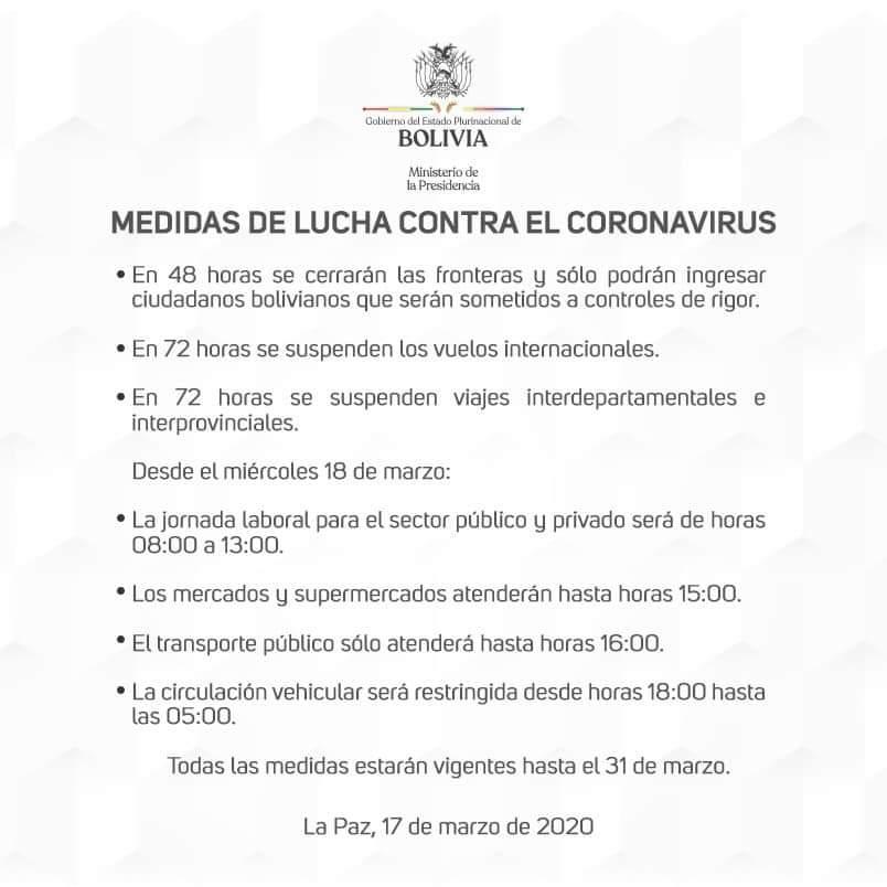 &nbspComunicado de Emergencia sanitaria en Bolivia